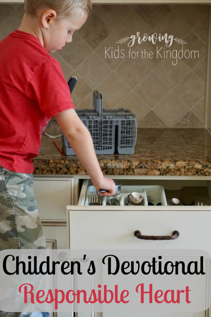 Great devotional for kids on the character trait of responsibility!